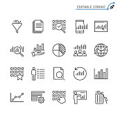 Data analytics line icons. Editable stroke. Pixel perfect.