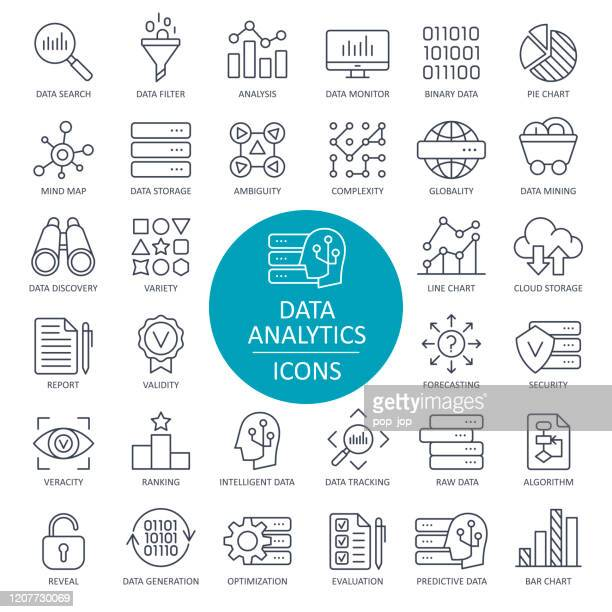 data analytics line icons - vector - big data storage stock illustrations