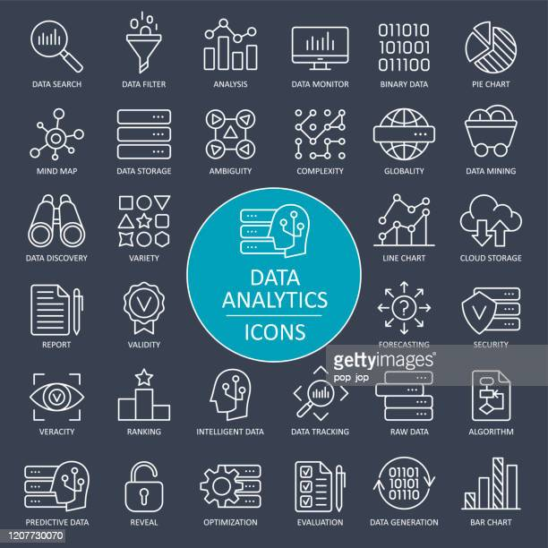 data analytics line icons - vector - big data white stock illustrations