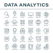 Data Analytics Line Icons - Vector