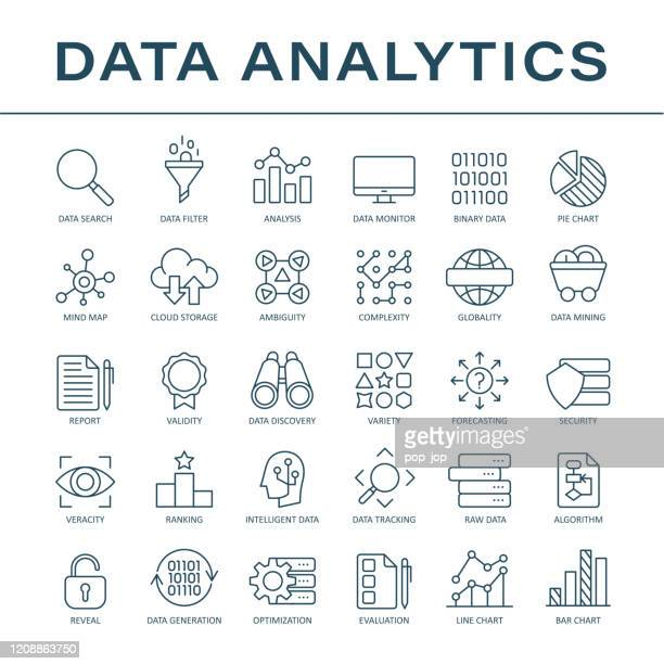 data analytics line icons - vector - variation stock illustrations