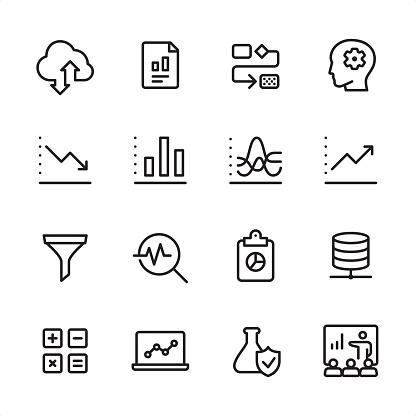 Data Analytics - outline icon set - gettyimageskorea