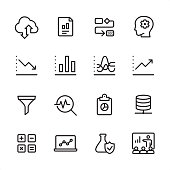 Data Analytics - outline icon set