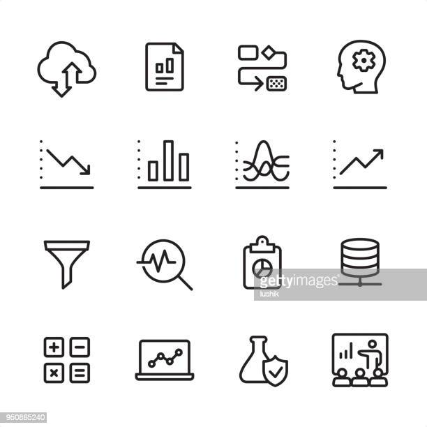 datenanalyse - gliederung-icon-set - analysieren stock-grafiken, -clipart, -cartoons und -symbole