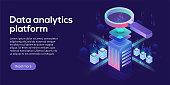 Data analytics platform isometric vector illustration. Abstract 3d hosting server or data center room background. Network or mainframe infrastructure website header layout. Computer storage or workstation.