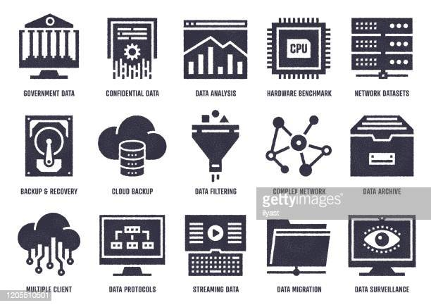 data analytics quality vector icon pack with stipple texture effect - hard drive stock illustrations