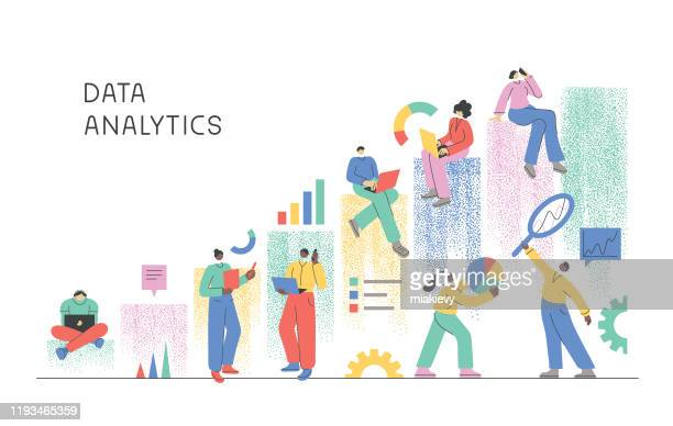 illustrazioni stock, clip art, cartoni animati e icone di tendenza di data analytics - big data