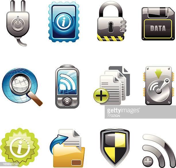 ilustraciones, imágenes clip art, dibujos animados e iconos de stock de datos de seguridad y el conjunto de iconos - usb cable
