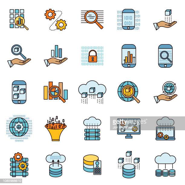 illustrazioni stock, clip art, cartoni animati e icone di tendenza di icona linea sottile dati e tecnologia intelligente - centro elaborazione dati