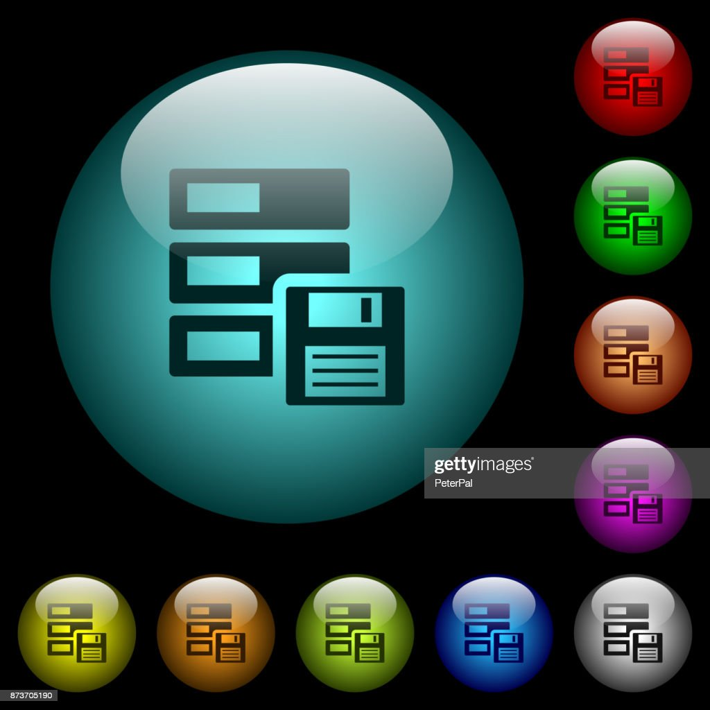 Data backup icons in color illuminated glass buttons