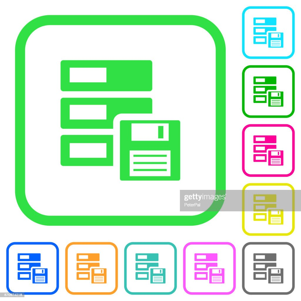 Data backup vivid colored flat icons icons