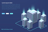 Data center. Concept of cloud storage, data transfer. Data transmission technology.