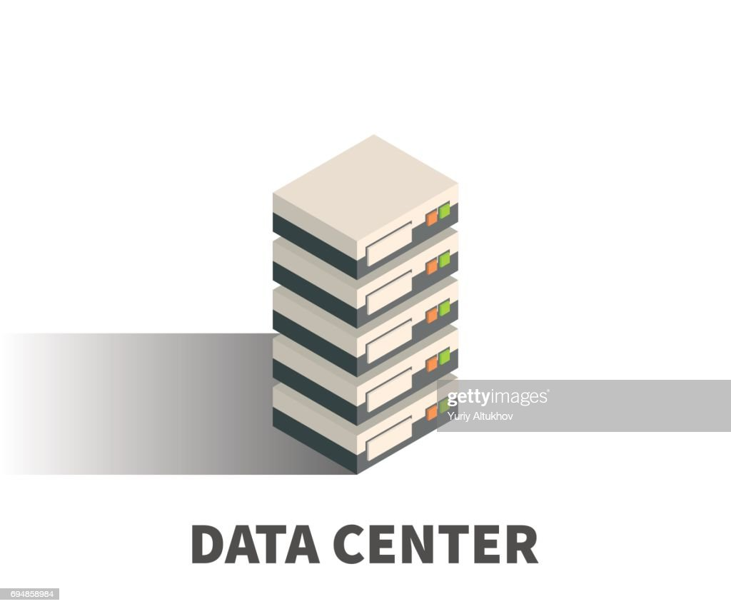 Data Center icon, vector symbol in isometric 3D style isolated on white background.