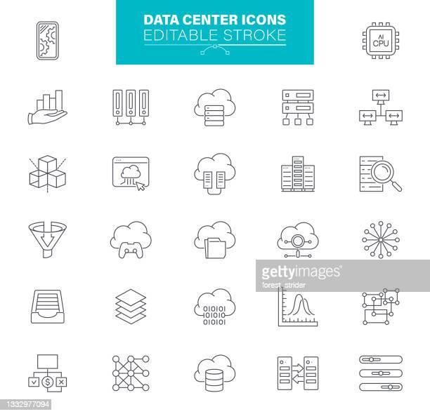illustrazioni stock, clip art, cartoni animati e icone di tendenza di icone data center tratto modificabile. icone di contaions come server, hosting, rete, cloud computing - centro elaborazione dati