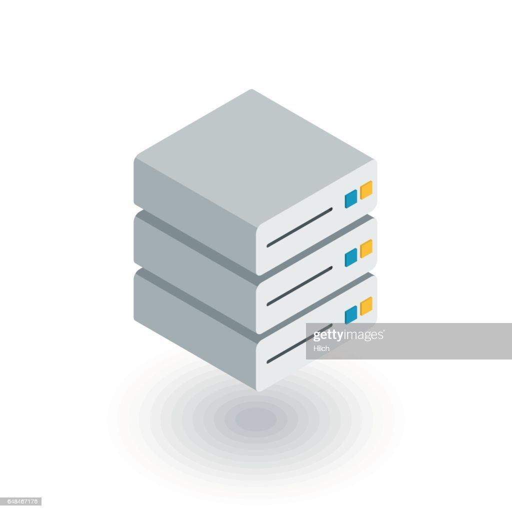 data center, server isometric flat icon. 3d vector
