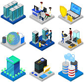 Data centre isometric 3D set