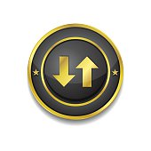Data Circular Vector Golden Black Web Icon Button