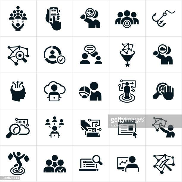data collection and big data icons - confidential stock illustrations