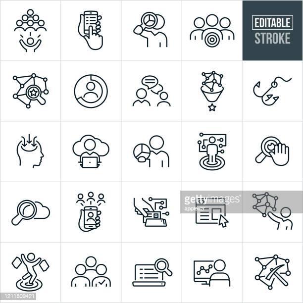ilustrações, clipart, desenhos animados e ícones de ícones de linha fina de coleta de dados - traçado editável - símbolo conceitual
