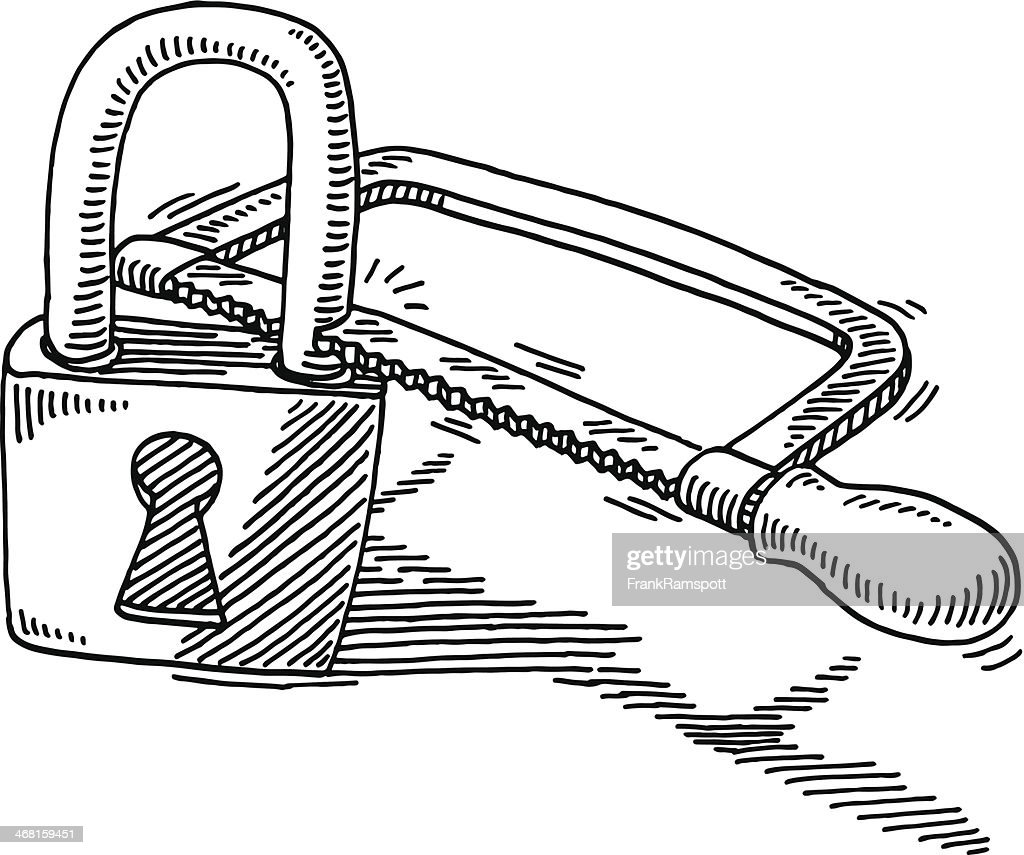 Data Decryption Hacking Padlock Saw Drawing : Stock Illustration