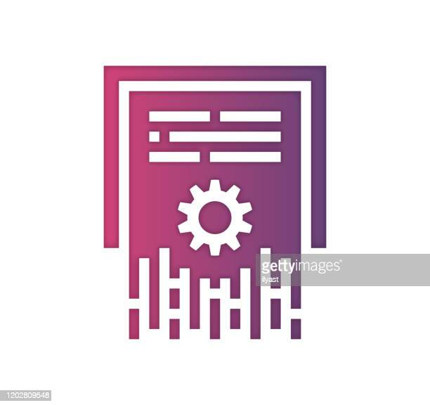 data erasure gradient color & papercut style icon design - hard drive stock illustrations