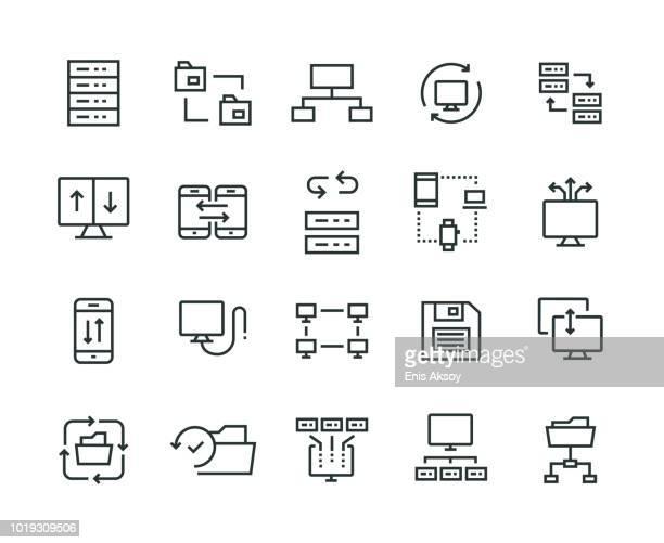 data exchange icon set - exchanging stock illustrations