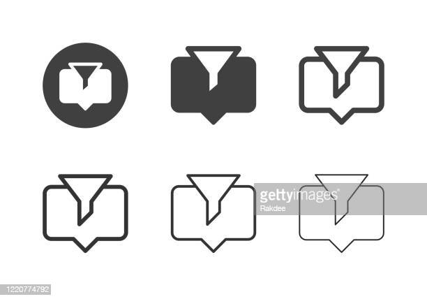 data filter icons - multi series - volume fluid capacity stock illustrations