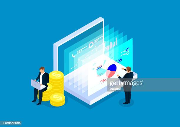 data finance, two businessmen analyze financial web page data - business strategy stock illustrations