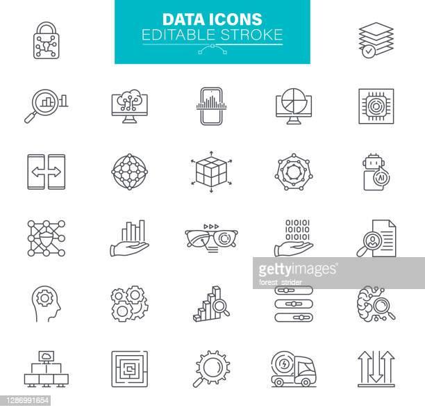 datensymbole bearbeitbarer strich. set enthält symbole wie daten, infografik, big data, cloud computing, machine learning, security system - automatisiert stock-grafiken, -clipart, -cartoons und -symbole