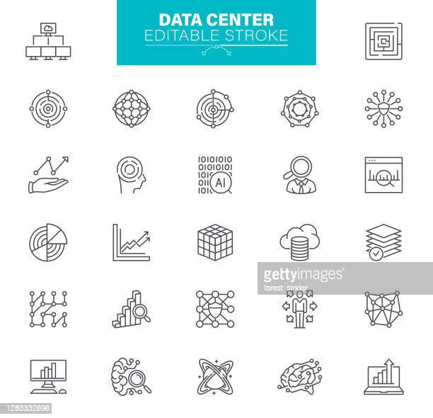 data icons. set contains such icons as data, infographic, big data, cloud computing, machine learning, security system - artificial neural network stock illustrations