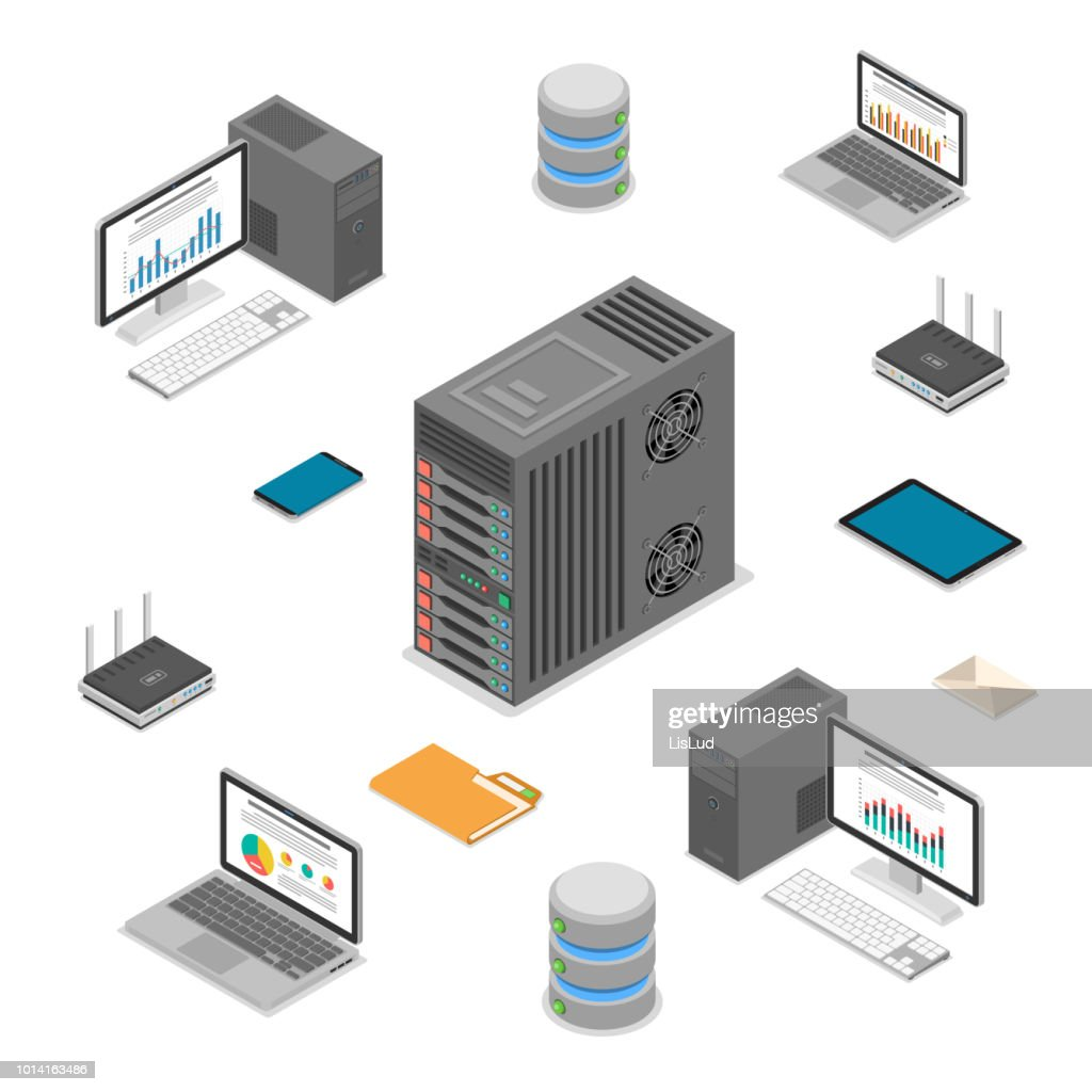 Data Network Technology Isometric