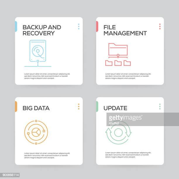 Datenorganisation und Management-Infografik Design-Vorlage