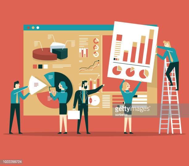ilustrações, clipart, desenhos animados e ícones de construção de página de dados - examinando