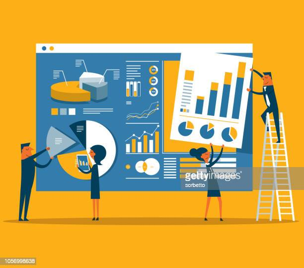data page construction - business strategy stock illustrations