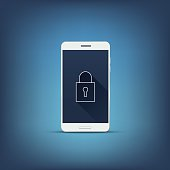Data privacy and mobile phone security concept. Smartphone with lock
