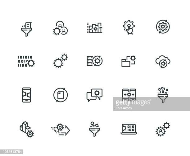 data processing icon set - thick line series - co ordination stock illustrations