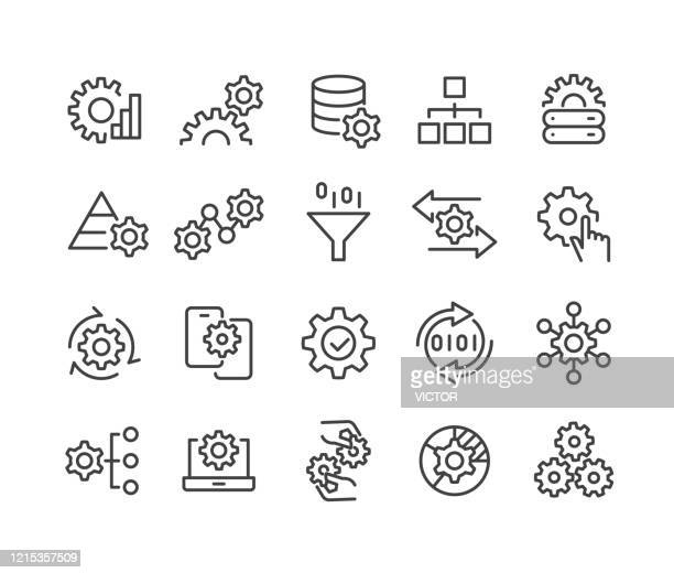 illustrazioni stock, clip art, cartoni animati e icone di tendenza di data processing icons - classic line series - cambiamento