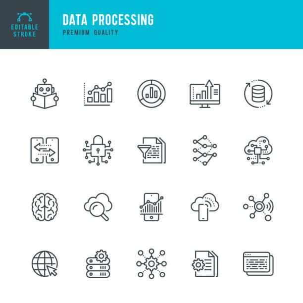 資料處理 - 細線向量圖示集。可編輯的描邊。圖元完美。集包含諸如資料、資訊圖、大資料、雲計算、機器學習、安全系統等圖示。 - 聯繫 幅插畫檔、美工圖案、卡通及圖標