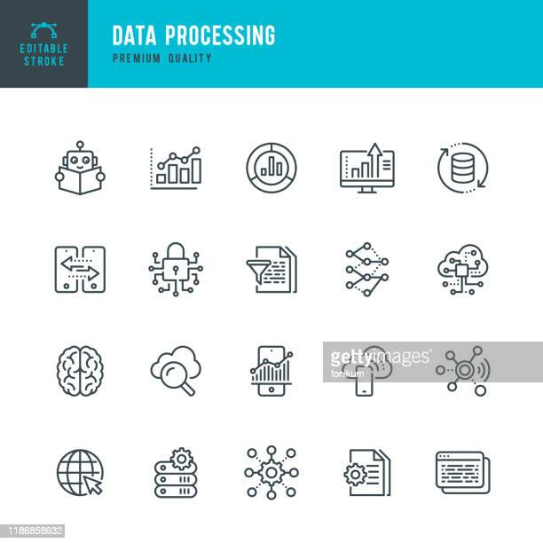 stockillustraties, clipart, cartoons en iconen met gegevensverwerking-pictogram voor dunne lijn vector ingesteld. bewerkbare lijn. pixel perfect. set bevat pictogrammen zoals data, infographic, big data, cloud computing, machine learning, security system. - techniek
