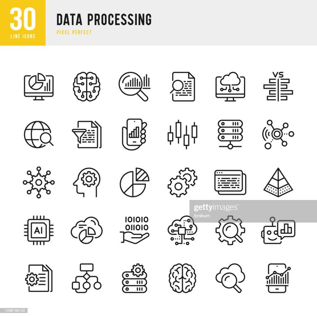 データ処理 - 細線ベクトルアイコンセット。ピクセルパーフェクト。セットには、データ、インフォグラフィック、ビッグデータ、クラウドコンピューティング、人工知能、脳、機械学習、� : ストックイラストレーション
