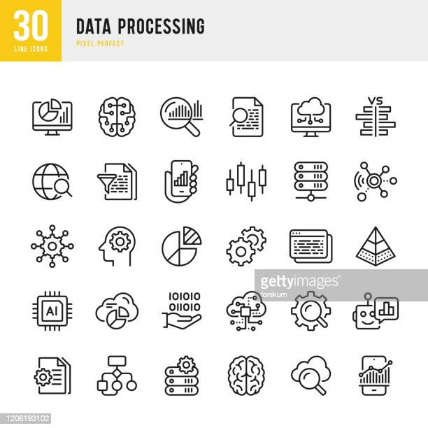 data processing - thin line vector icon set. pixel perfect. set contains such icons as data, infographic, big data, cloud computing, artificial intelligence, brain, machine learning, security system. - data stock illustrations