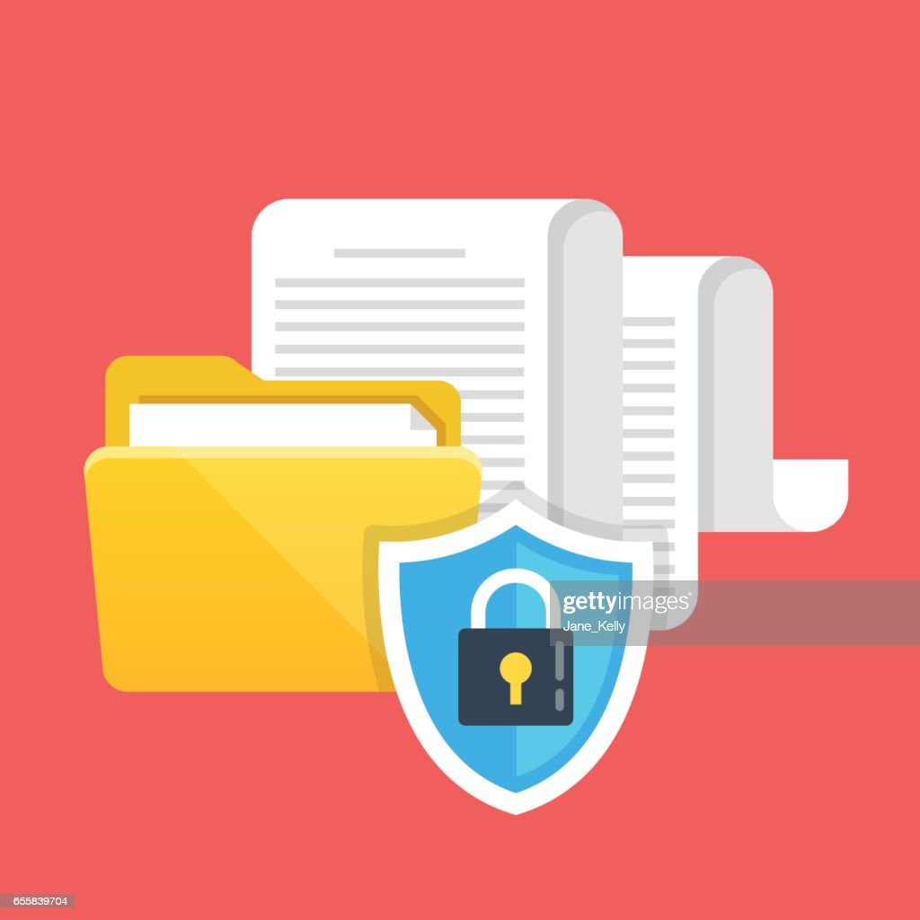 Data protection, file security and access rights concepts. Folder, documents and shield with lock icon. Modern flat design vector illustration