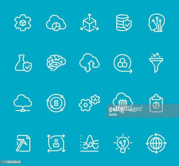 data science - line icon set - funnel stock illustrations