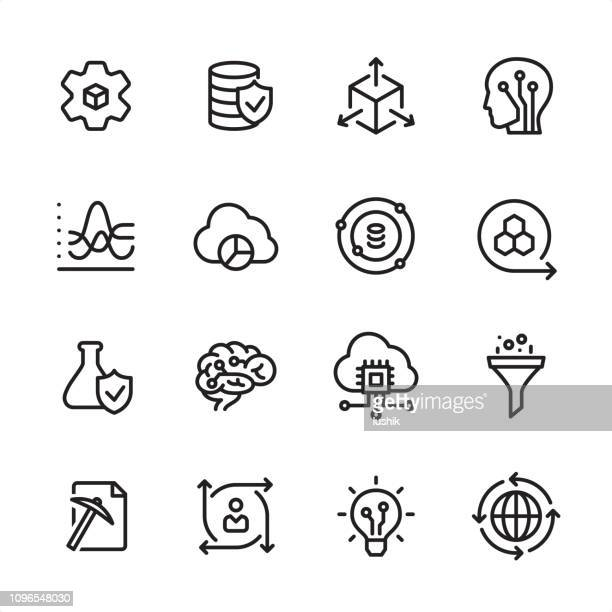 data-science - gliederung-icon-set - variation stock-grafiken, -clipart, -cartoons und -symbole