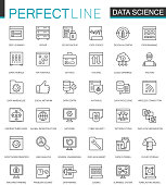Data Science thin line web icons set. Data analysis outline stroke icons design.