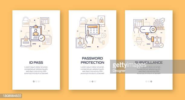 data security and cyber security concept onboarding mobile app page screen with flat icons. ux, ui design template vector illustration - verification stock illustrations