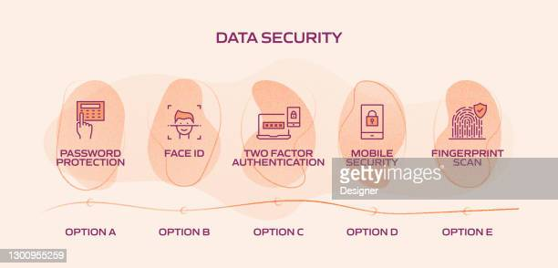data security and cyber security related process infographic template. process timeline chart. workflow layout with linear icons - verification stock illustrations