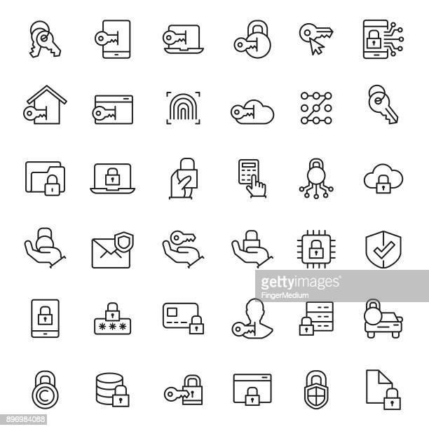 data security icon set - defending stock illustrations