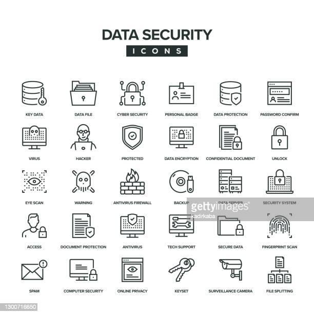 data security line icon set - eye scanner stock illustrations