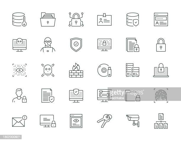 data security thin line series - eye scanner stock illustrations
